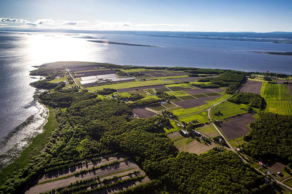 Vue aérienne de la pointe de l'île d'Orléans qui s'avance dans le fleuve Saint-Laurent.