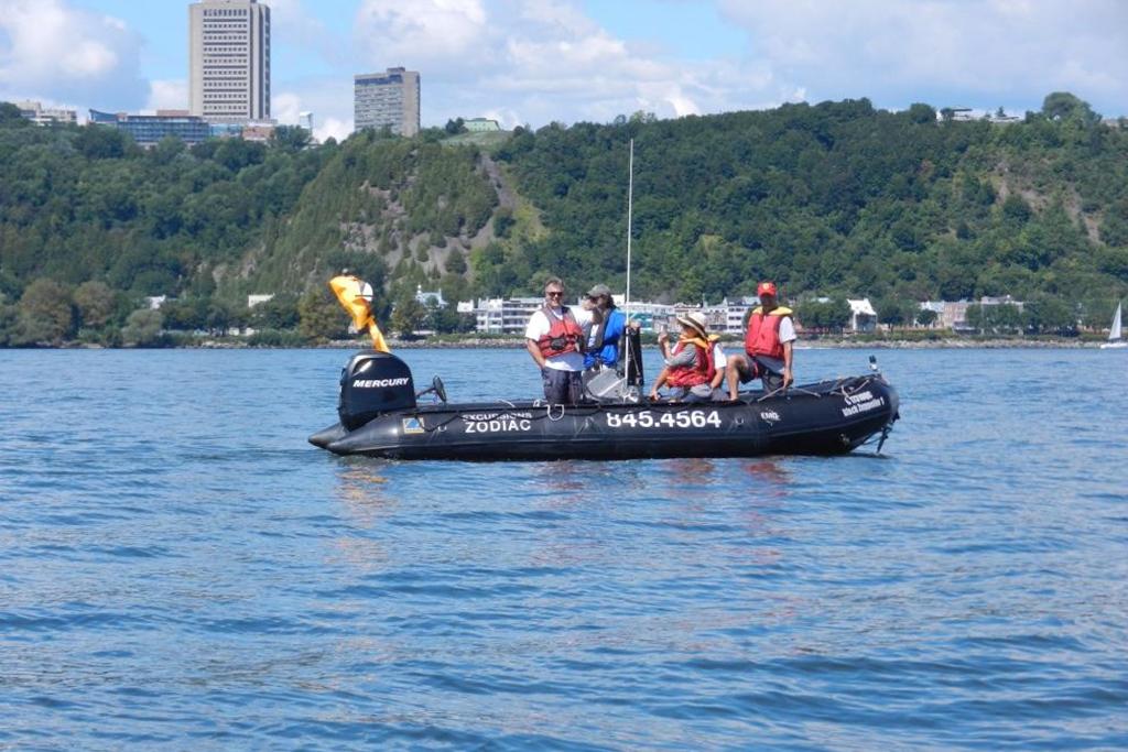 Quoi faire à Québec cet été : 5 personnes dans un zodiac sur le fleuve Saint-Laurent devant la ville de Québec.